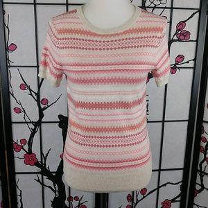 Lands' End Fairisle Supima Short Sleeve Sweater